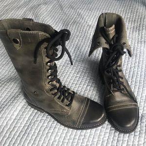 Leather Diba Military biker boots size US 5M women